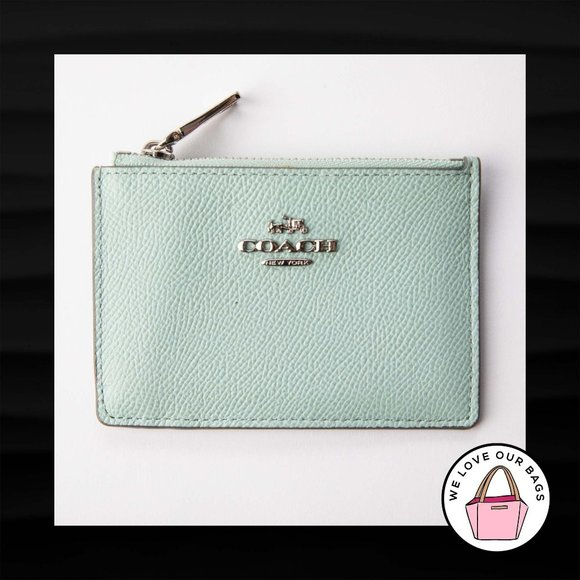 $50 COACH MINT GREEN LEATHER COIN PURSE SKINNY MIN